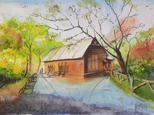 Landscape Watercolor Art Painting title Shakeshpeare garden, Central park NY by artist Vivekanand Viswam