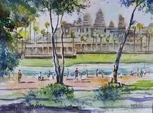 Landscape Watercolor Art Painting title Angkor Wat, Cambodia by artist Vivekanand Viswam