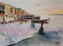Landscape Watercolor Art Painting title Varanasi by artist Vivekanand Viswam