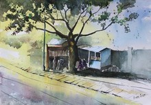 Landscape Watercolor Art Painting title Morning Tea by artist Vivekanand Viswam