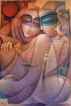 Nityam Singha Roy | Acrylic Painting title Egyptian King and Queen V on Canvas | Artist Nityam Singha Roy Gallery | ArtZolo.com