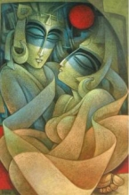 Nityam Singha Roy | Acrylic Painting title Egyptian King and Queen VI on Canvas | Artist Nityam Singha Roy Gallery | ArtZolo.com