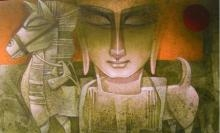 Figurative Acrylic Art Painting title 'Egyptian King' by artist Nityam Singha Roy