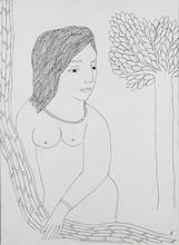 Nude Pen-ink Art Drawing title Untitled by artist Badri Narayan