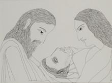 Figurative Pen-ink Art Drawing title Yama Savitri And Satyavan by artist Badri Narayan