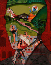 Figurative Acrylic Art Painting title Lover by artist Vijay Shelar