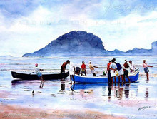 Figurative Watercolor Art Painting title After A Fishing by artist Abdul Salim