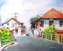 Cityscape Watercolor Art Painting title Fort Kochi Street by artist Abdul Salim