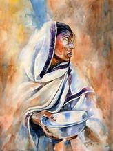 art, painting, watercolor, paper, potrait