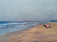 Cityscape Oil Art Painting title Alibaug Beach by artist Paresh Thukrul