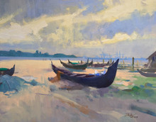 Seascape Oil Art Painting title Kochi 1 by artist Paresh Thukrul