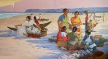 Figurative Acrylic Art Painting title Koli Women On Dapoli Beach by artist Paresh Thukrul