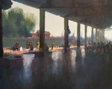 Seascape Oil Art Painting title Sasoon Dock by artist Paresh Thukrul
