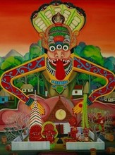 Religious Oil Art Painting title Kim Purushan The Lord Of Land Deities by artist Rejeesh Sarovar