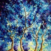 Nature Oil Art Painting title 'Blue Winter 2' by artist Bahadur Singh