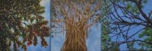 Nature Oil Art Painting title 'The Story Of Three Trees' by artist Saurab Bhardwaj