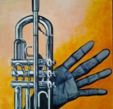 Photorealistic Oil Art Painting title Trumpet by artist Saurab Bhardwaj