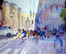Cityscape Watercolor Art Painting title 'Bicycle Rider' by artist Ravhi Songirkaar