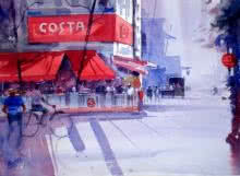 Ravhi Songirkaar | Watercolor Painting title Coffee Time on Paper | Artist Ravhi Songirkaar Gallery | ArtZolo.com