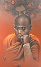 Figurative Acrylic Art Painting title Determination by artist Gopal Naskar