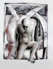 Expressionist Dry-pastel Art Drawing title 'Carry To Convey' by artist Chandranath Banerjee