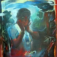 Lady III | Painting by artist Chandranath Banerjee | acrylic | Canvas
