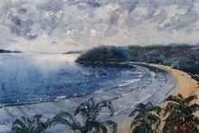 Landscape Watercolor Art Painting title Bogmalo Beach by artist Bhuwan Mahato