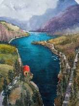 Landscape Watercolor Art Painting title By the Lake by artist Bhuwan Mahato