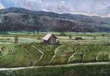 Landscape Watercolor Art Painting title Fields of Manipur by artist Bhuwan Mahato