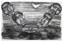 Figurative Charcoal Art Drawing title Bouncing Ball by artist Pintu Biswas