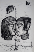 Figurative Charcoal Art Drawing title Boundary by artist Pintu Biswas