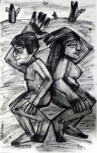 Figurative Charcoal Art Drawing title Opposite by artist Pintu Biswas