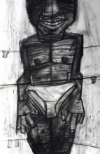 Figurative Charcoal Art Drawing title Overlap by artist Pintu Biswas