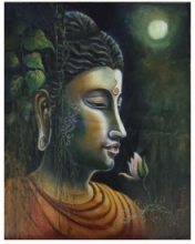 contemporary Acrylic-oil Art Painting title Buddha Enlightened by artist Barnali Ray