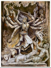 Religious Watercolor Art Painting title Devi Durga by artist Barnali Ray