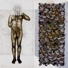 Erotic Mixed-media Art Painting title Beyond Invisible 2 by artist Guru Kinkar