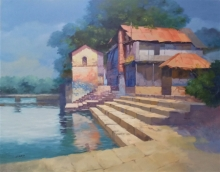 Cityscape Acrylic Art Painting title Wai Ghat by artist Mohan Charya