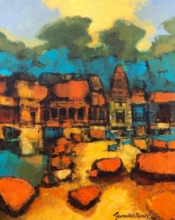 Cityscape Oil Art Painting title Untitled 1 by artist Gurudas Shenoy