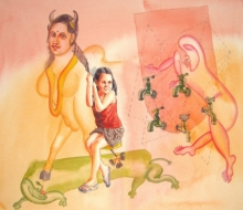 contemporary Watercolor Art Painting title One Page Of Today Dairy 1 by artist Fayyaz Khan
