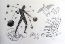 contemporary Ink Art Drawing title One Page Of Todays Diary 2 by artist Fayyaz Khan