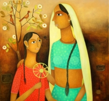 Figurative Oil Art Painting title Untitled 1 by artist Mohan Naik