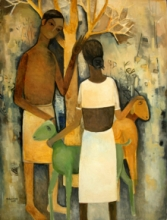 Figurative Oil Art Painting title Untitled 3 by artist Mohan Naik
