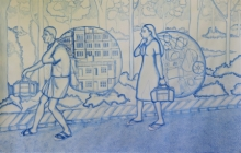 Figurative Watercolor Art Painting title Destination by artist Sanu Ramakrishnan