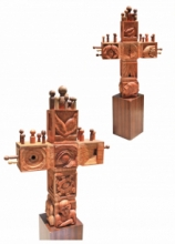 Wood Sculpture titled 'Rangamancha' by artist Nirmal Mallick