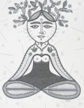 Figurative Pen-ink Art Drawing title Beauty Of Nature by artist Subhendu Ghosh