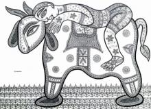 Figurative Pen-ink Art Drawing title The Mother Lap by artist Subhendu Ghosh