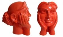 Paint on Fiberglass Sculpture titled 'Face 4' by artist Dvs Krishna