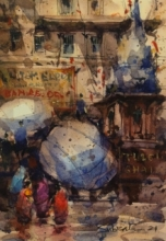 Cityscape Watercolor Art Painting title Banaras by artist Subrata Malakar