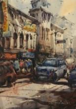 Cityscape Watercolor Art Painting title Kolkata Street by artist Subrata Malakar