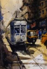 Cityscape Watercolor Art Painting title Locomotive 17 by artist Subrata Malakar